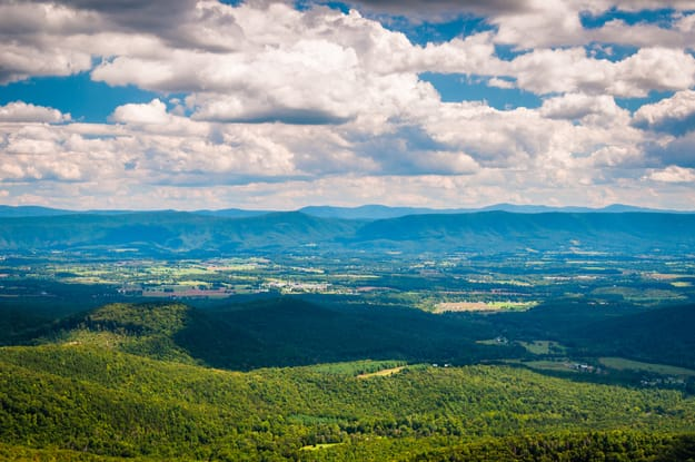 View of the Shenandoah Valley and Appalachian Mountains from the Mill Mountain Trail on Great North Mountain in George Washington National Forest, Virginia