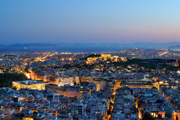 View over the Athens at night