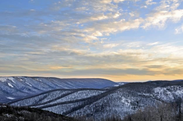 Winter Sunset in the Mountains of West Virginia