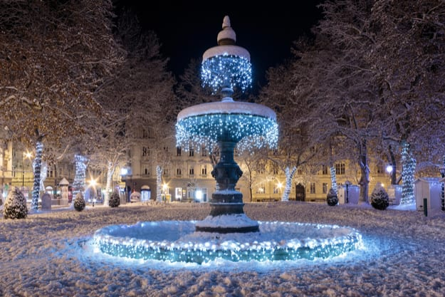 Zrinjevac park Fountain decorated by Christmas lights as part of Advent in Zagreb. Fountain is known as The Mushroom