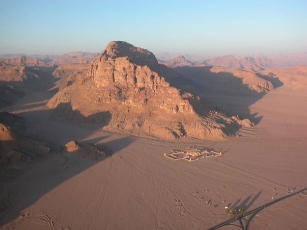 A spectacular balloon flight over the desert Wadi Rum in Jordan, early morning