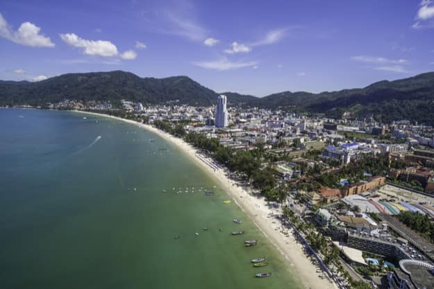 Aerial view of Patong Beach in Phuket, Thailand