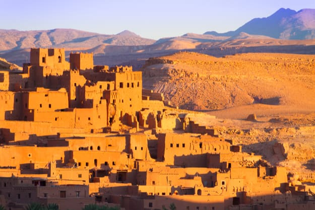 Ait Benhaddou,fortified city, kasbah or ksar, along the former caravan route between Sahara and Marrakesh in present day Morocco. It is situated in Souss Massa Draa on a hill along the Ounila River