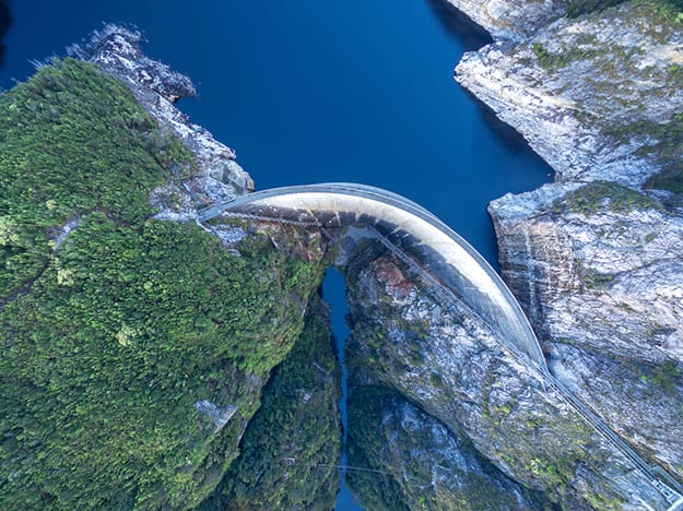 Australia Gordon Dam and Lake photo