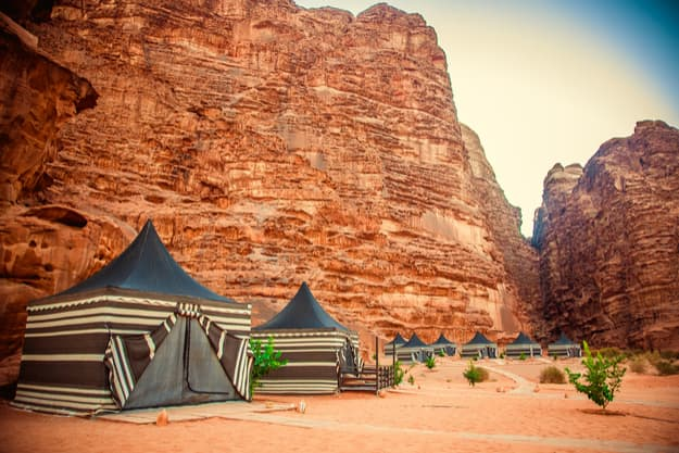 Camping along the rocks in Petra, Wadi Rum