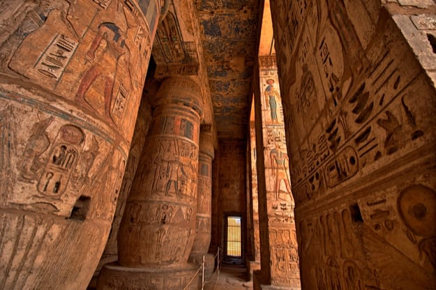 Heiroglyphs at Medinat Habu. Luxor, Egypt