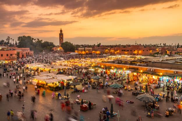 Jamaa el Fna market square, Marrakesh, Morocco, north Africa. Jemaa el-Fnaa, Djema el-Fna or Djemaa el-Fnaa is a famous square and market place in Marrakesh's medina quarter