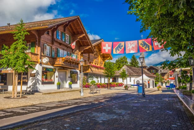 Old city center of Gstaad town, famous ski resort in canton Bern, Switzerland