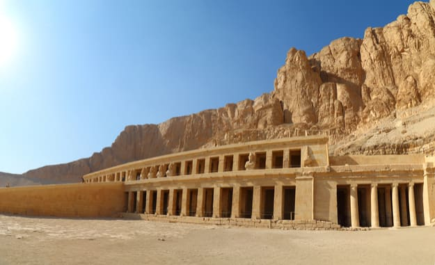 Panorama of famous ancient temple of Hatshepsut in Luxor Egypt