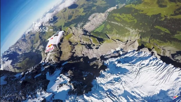 BASE jumper Fred Fugen enroute to his plane, Photograph Courtesy: Red Bull/YouTube