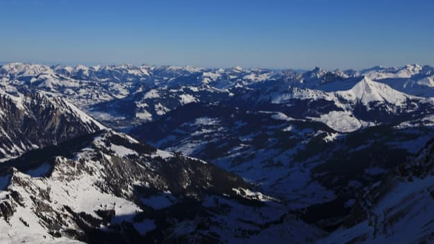 Saanenland valley and distant view of Gstaad