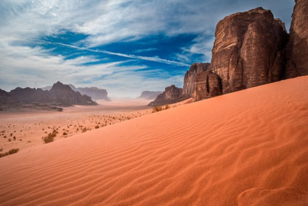 Sand-dunes in Wadi-Rum desert