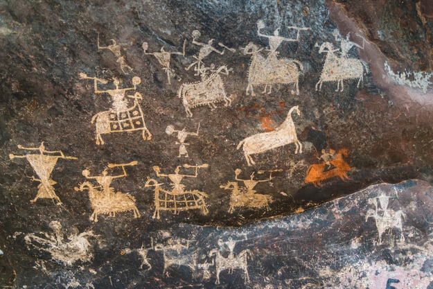 Satukunda Rock Paintings. Just 24 km fom Bhopal, Satkunda has around 5000 year old rock art. Contemporary in quality and age the world Heritage site of Bhim Baithika in the east of Bhopal