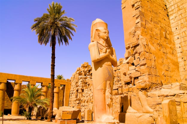 Statue in the temple of Karnak in Luxor Egypt