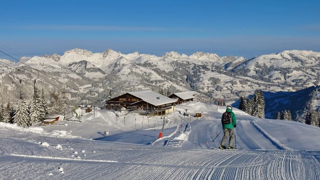 Summit station of the Wispile ski area, Gstaad. Ski slope and mountains