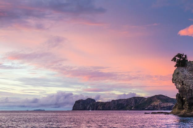 Sunset over Great Barrier Island