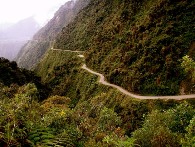 The 'World's most dangerous road', a steep sided mountain road connecting the city of La Paz with the Bolivian rain forest