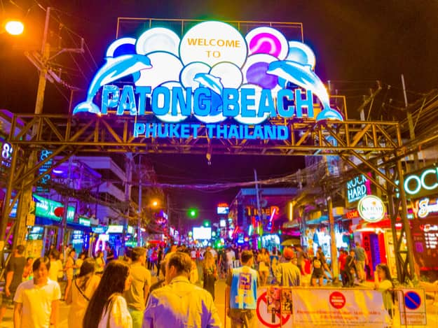 There are many Thai and foreign tourists here tonight at Patong Beach.  Patong Road in Thailand at 29 June 2017 2250 PM  Phuket beach