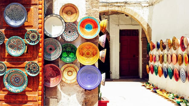 Traditional arabic handcrafted, colorful decorated plates shot at the market in Marrakesh, Morocco, Africa