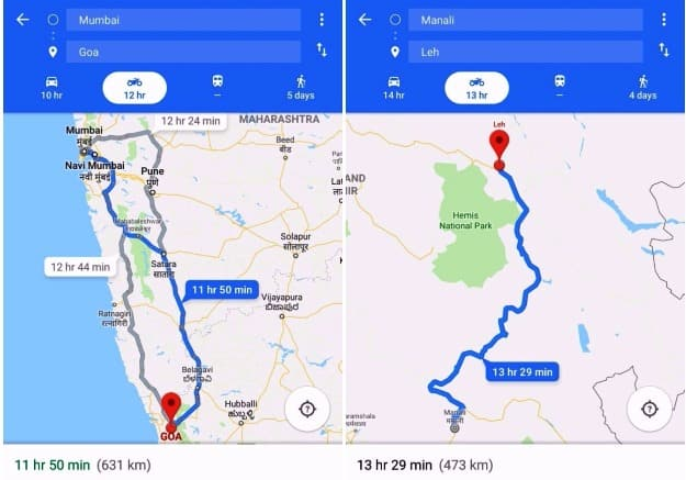 Google Map's new two-wheeler mode in action