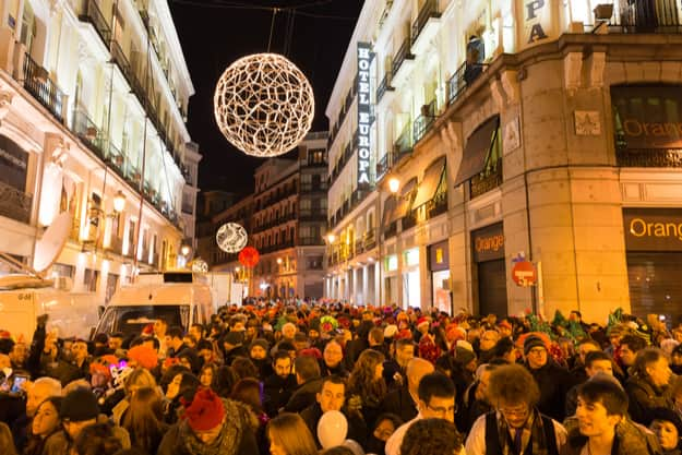 Puerta del Sol crowded with tourists on December 31 in Madrid