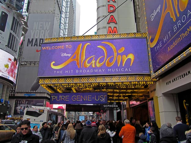 The marquee of Disney's Aladdin, A Hit Broadway Musical, which is playing at the New Amsterdam Theatre