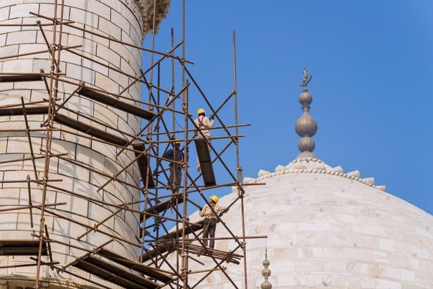 Restoration work in the Taj Mahal complex on December 19, 2015