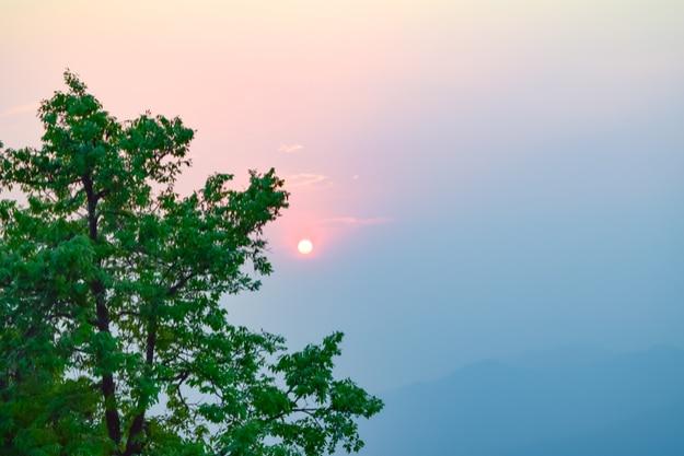 View at sunset at Binsar, Uttarakhand