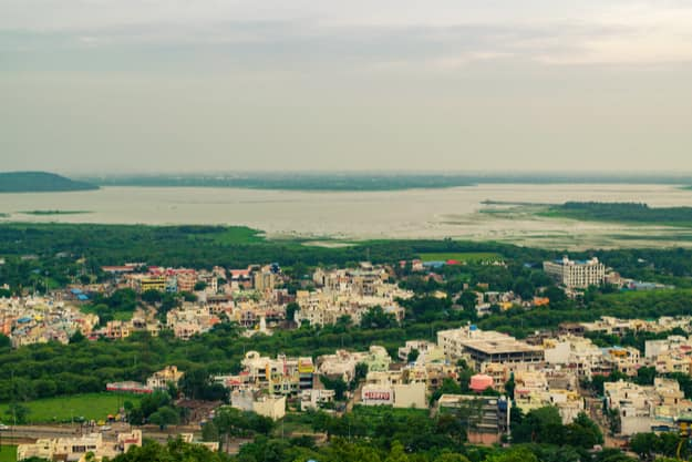 View of Bhopal city with upper lake in backdrop from Manuabhan Tekri at Bhopal also known as 'city of lakes' & it is capital city of Madhya Pradesh