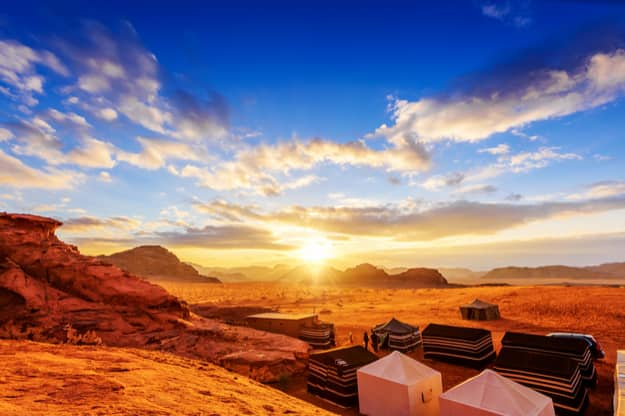 Wadi Rum in Jordan at sunset