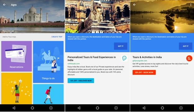 Screenshots of Google Trips on Android