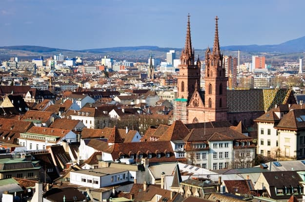 A view of Basel Munster and the city
