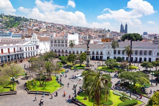 Activity in the Plaza Grande in the colonial center of Quito, Ecuador