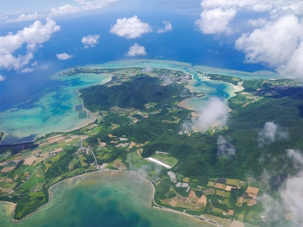 Aerial view of Ishigaki Island (neighbor of Kabira Bay) in Okinawa, Japan