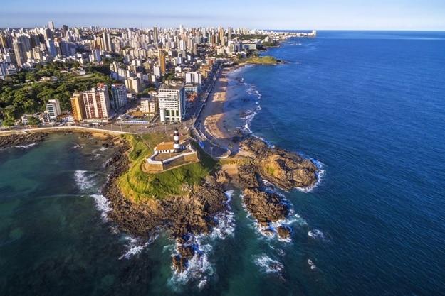 Aerial view of Salvador da Bahia cityscape, Bahia, Brazil