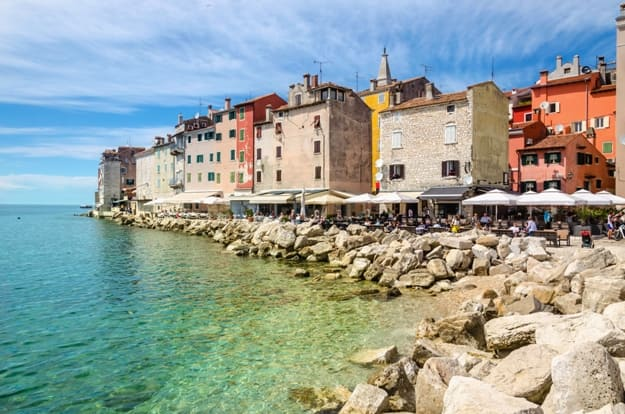 Amazing colorful Rovinj seen from the harbor, Croatia