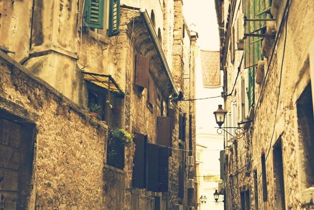 Beautiful and colorful small town Rovinj. Medieval stone houses, European town Rovinj, Istria, Croatia