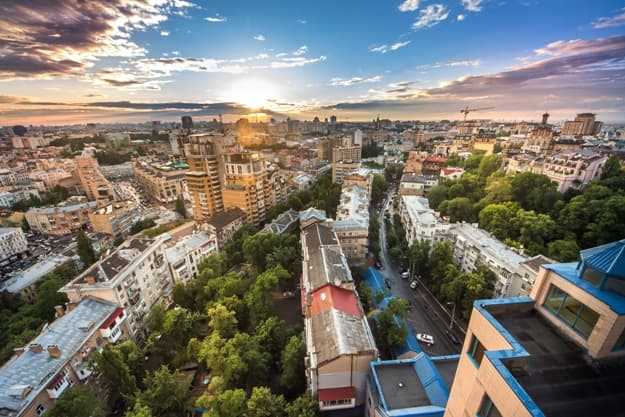 Beautiful area of kiev near the city center at sunset time, aerial photography in Kiev, Ukraine