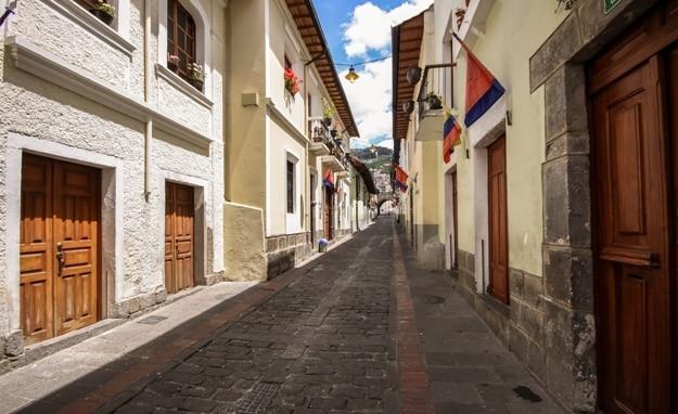 Calle La Ronda, typical colonial street in historic district, Quito, Ecuador