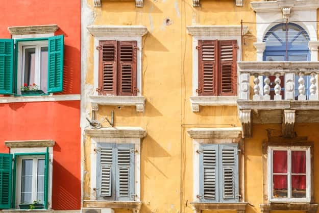Colorful facade of an old house in Rovinj, Croatia