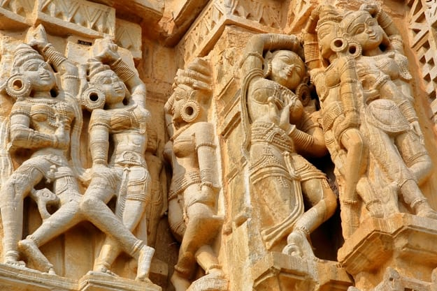 Details of the Adhbudhnath Shiva Temple, located inside the fort (Garh) of Chittorgarh with sculptures of Apsaras, Chittorgarh, Rajasthan, India