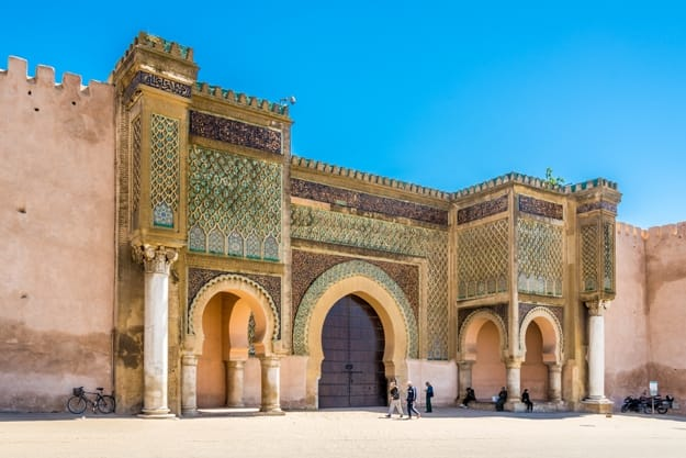 Gate Bab El-Mansour at the El Hedim square in Meknes. Meknes is one of the four Imperial cities of Morocco