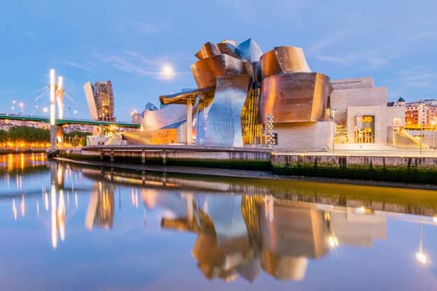 Guggenheim Museum on June 19, 2016 in Bilbao, Spain. This and futuristic museum was designed by Frank Gehry