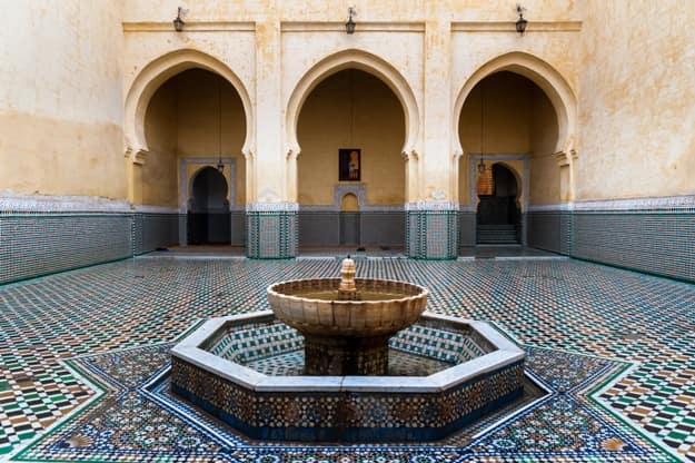Interior of the Moulay Ismail Mausoleum in Meknes, Morocco