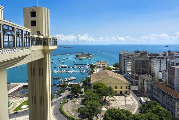 Lacerda Elevator and All Saints Bay (Baia de Todos os Santos) in Salvador, Bahia, Brazil
