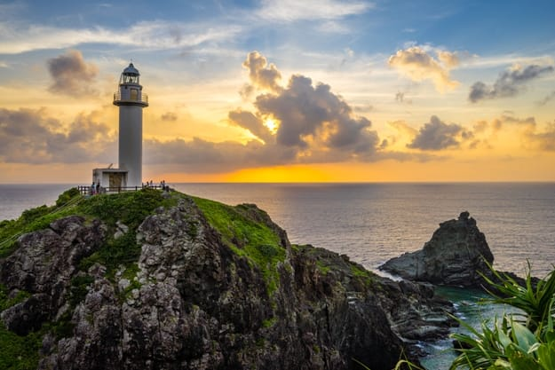 Lighthouse Sunset at Ishigaki island of Okinawa Japan