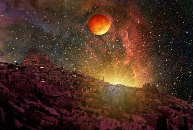 Lunar eclipse and Super Moon against Cappadocia at night Elements of this image furnished by NASA