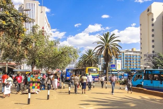 Many people on the street of Nairobi in Kenya. Eastern Africa