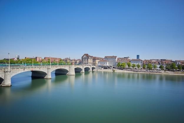 Middle bridge over Rhine river, Basel, Switzerland