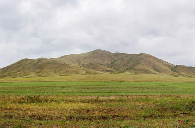 Mountain steppe in the valley of the Kings at Uyuk basin. Tuva, Siberia, Russia
